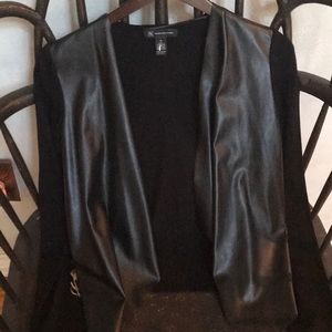 Stunning Faux Leather and Rayon and Nylon Top.
